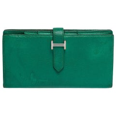 Hermes Menthe Chevre Leather Bearn Gusset Wallet