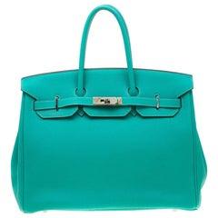 Hermes Menthe Togo Leather Palladium Hardware Birkin 35 Bag