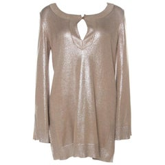 Hermes Metallic Silk and Lurex Knit Sweater M