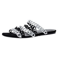 Hermes Metallic Silver Leather And Black Suede Chaine D'ancre Flat Sandals 40
