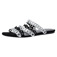 Hermes Metallic Silver Leather & Black Suede Chaine D'ancre Flat Sandals Size 40