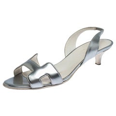 Hermes Metallic Silver Patent Leather Night Slingback Sandals Size 38.5