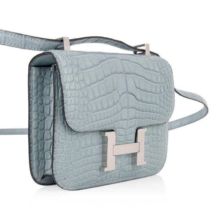 Hermes Micro Constance Bag Ciel Matte Alligator Hardware Limited Edition Rare For Sale 6