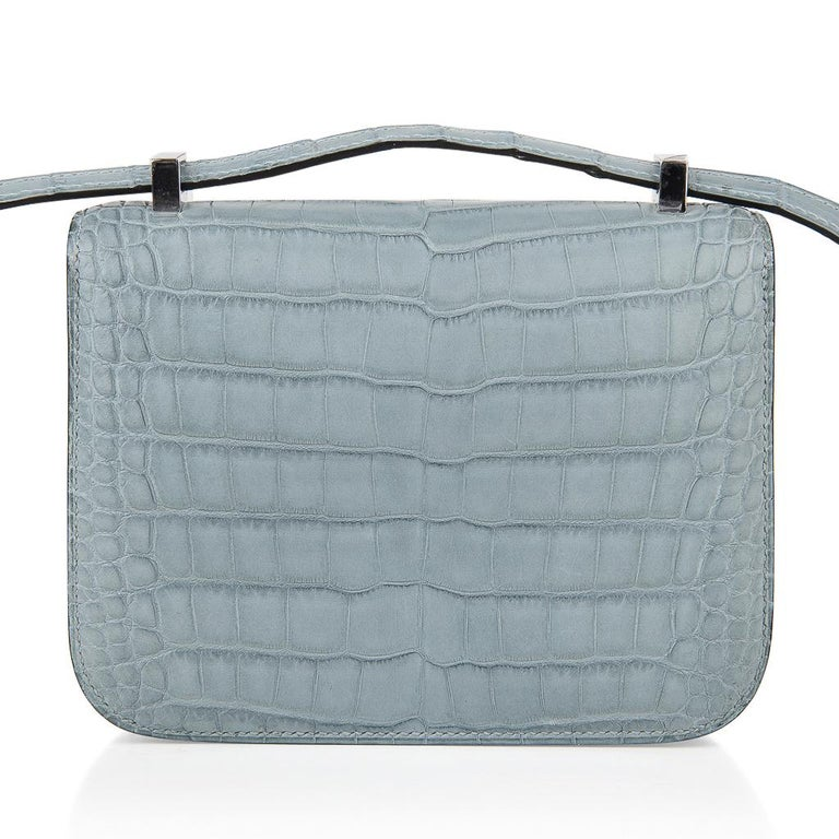 Hermes Micro Constance Bag Ciel Matte Alligator Hardware Limited Edition Rare For Sale 7
