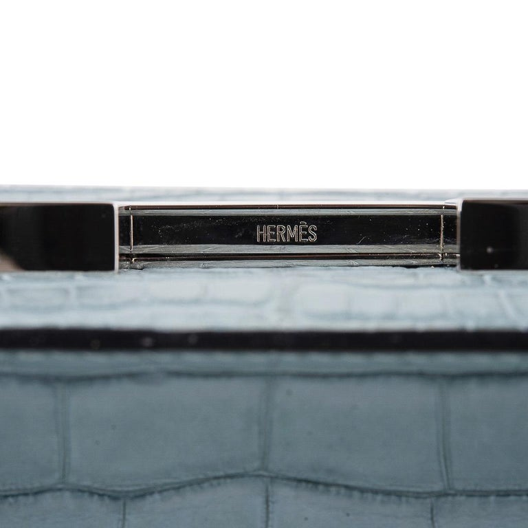 Hermes Micro Constance Bag Ciel Matte Alligator Hardware Limited Edition Rare For Sale 8