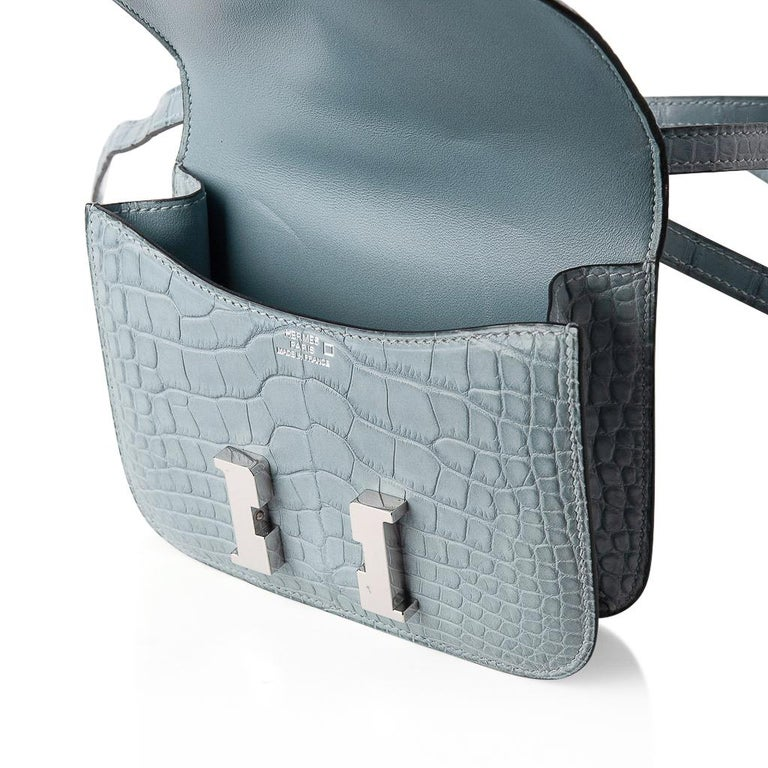 Hermes Micro Constance Bag Ciel Matte Alligator Hardware Limited Edition Rare For Sale 9