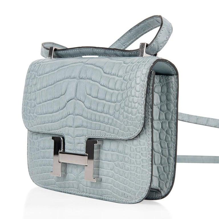 Women's Hermes Micro Constance Bag Ciel Matte Alligator Hardware Limited Edition Rare For Sale
