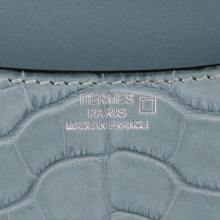 Hermes Micro Constance Bag Ciel Matte Alligator Hardware Limited Edition Rare For Sale 1