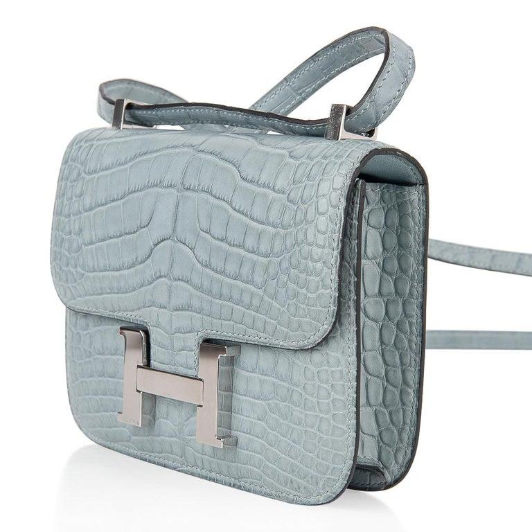 Hermes Micro Constance Bag Ciel Matte Alligator Hardware Limited Edition Rare For Sale 2