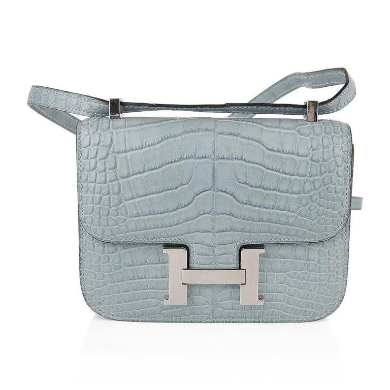 Hermes Micro Constance Bag Ciel Matte Alligator Hardware Limited Edition Rare For Sale 3