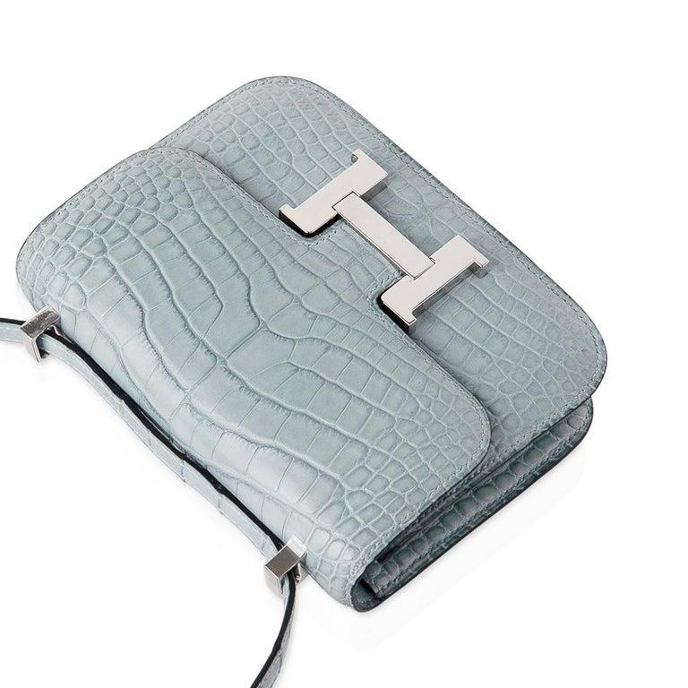 Hermes Micro Constance Bag Ciel Matte Alligator Hardware Limited Edition Rare For Sale 5
