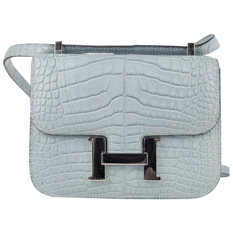 Hermes Micro Constance Bag Ciel Matte Alligator Hardware Limited Edition Rare For Sale