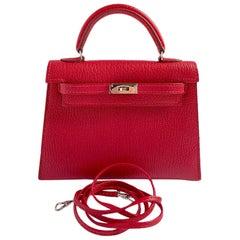 1stdibs Exclusive Hermès Micro Kelly 15cm Rouge Chevre Palladium Hardware