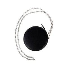 Hermes Micro Rond Veau Noir Villandry Bag Palladium Paper Clip Chain Ltd Edtn