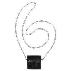 Hermes Micro Sac 46mm Villandry Noir Silver Paper Clip Chain Limited Edition