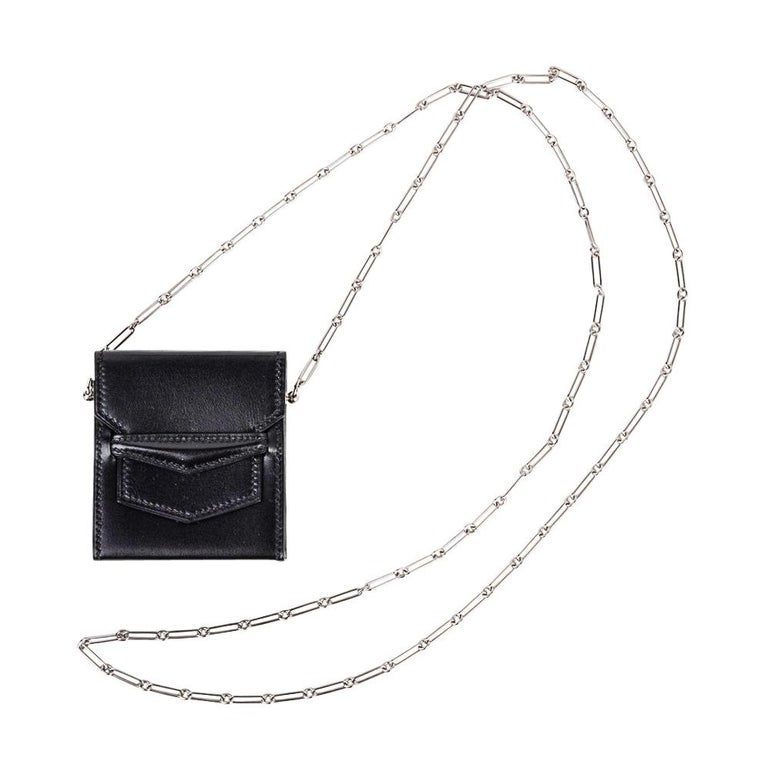 Hermes Micro Sac 70mm Noir Villandry Palladium Paper Clip Chain Limited Edition  For Sale
