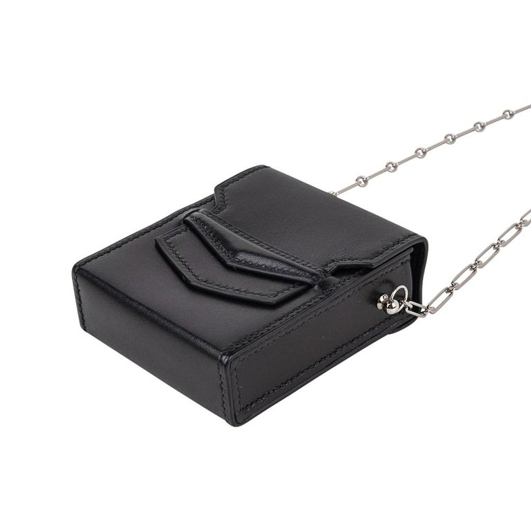 Hermes Micro Sac 70mm Noir Villandry Palladium Paper Clip Chain Limited Edition  In New Condition For Sale In Miami, FL