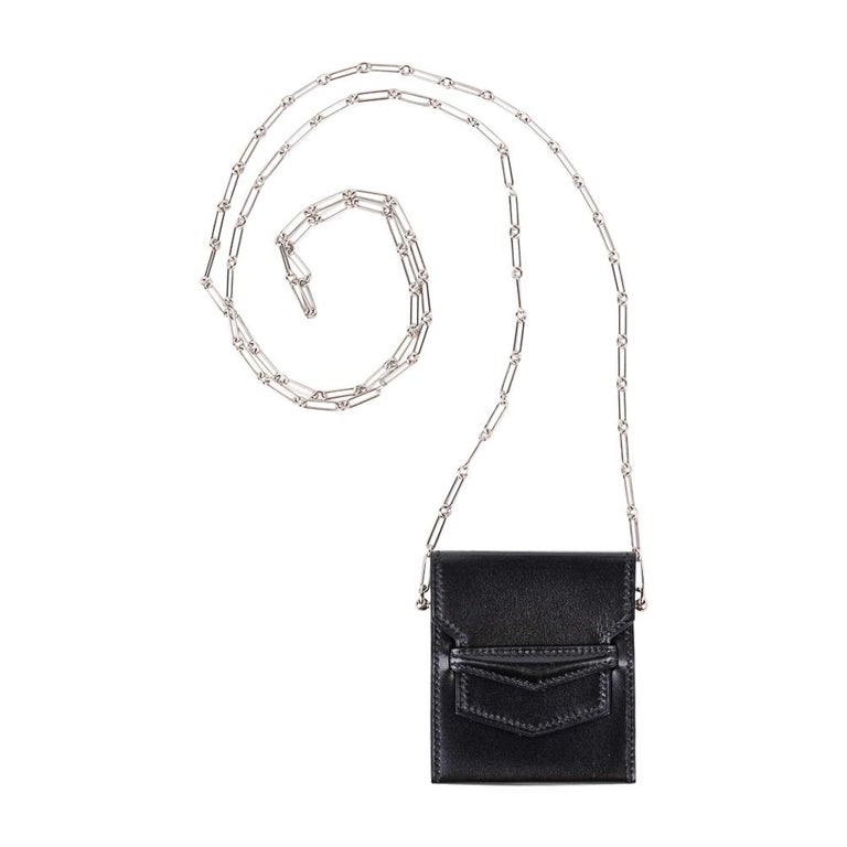 Hermes Micro Sac 70mm Noir Villandry Palladium Paper Clip Chain Limited Edition  For Sale 2