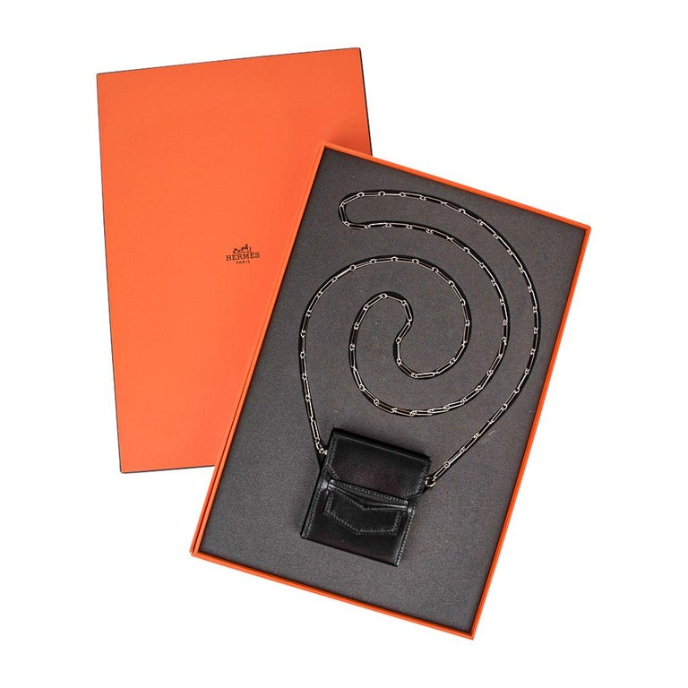 Hermes Micro Sac 70mm Noir Villandry Palladium Paper Clip Chain Limited Edition  For Sale 3