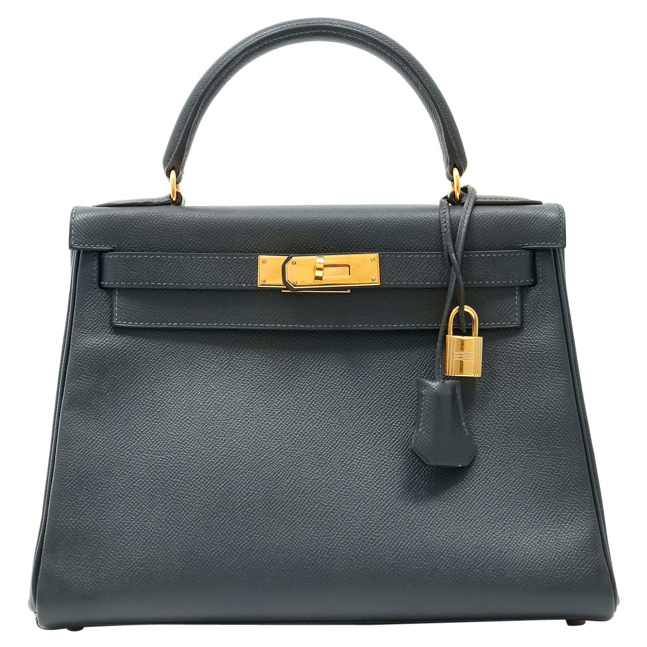 Hermès Midnight Blue Epsom Leather 28 cm Kelly with Gold Hardware