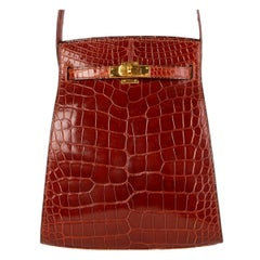 HERMES Miel brown Shiny Alligator Crocodile KELLY SPORT MM Crossbody Bag