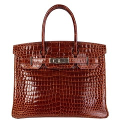 HERMES Miel brown Shiny Porosus Crocodile & Palladium BIRKIN 30 Bag