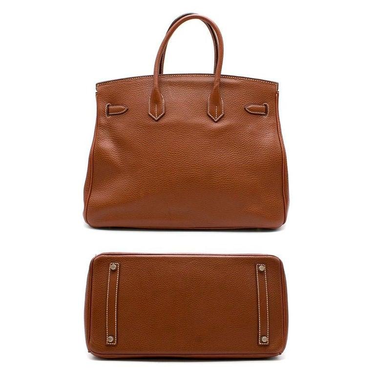 Brown Hermes Miel Clemence Leather Birkin Bag 35cm For Sale