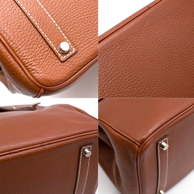 Women's Hermes Miel Clemence Leather Birkin Bag 35cm For Sale