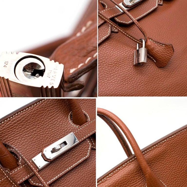 Hermes Miel Clemence Leather Birkin Bag 35cm For Sale 3