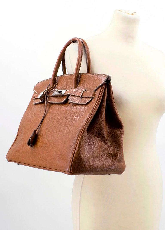 Hermes Miel Clemence Leather Birkin Bag 35cm For Sale 4
