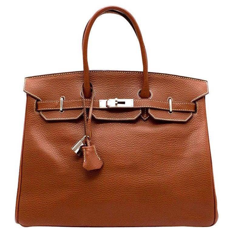 Hermes Miel Clemence Leather Birkin Bag 35cm For Sale