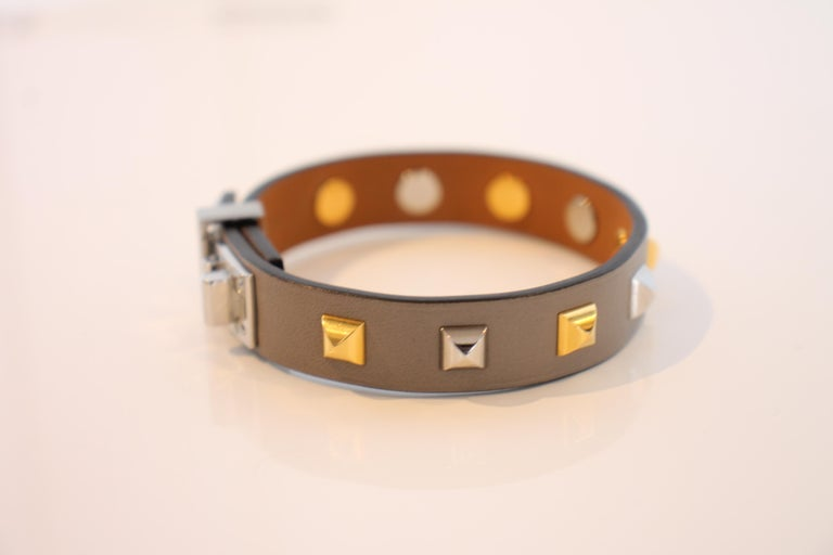 Women's or Men's Hermes Mini Dog Clous Carres Bracelet For Sale