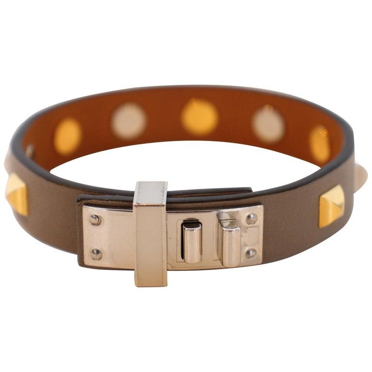 Hermes Mini Dog Clous Carres Bracelet For Sale