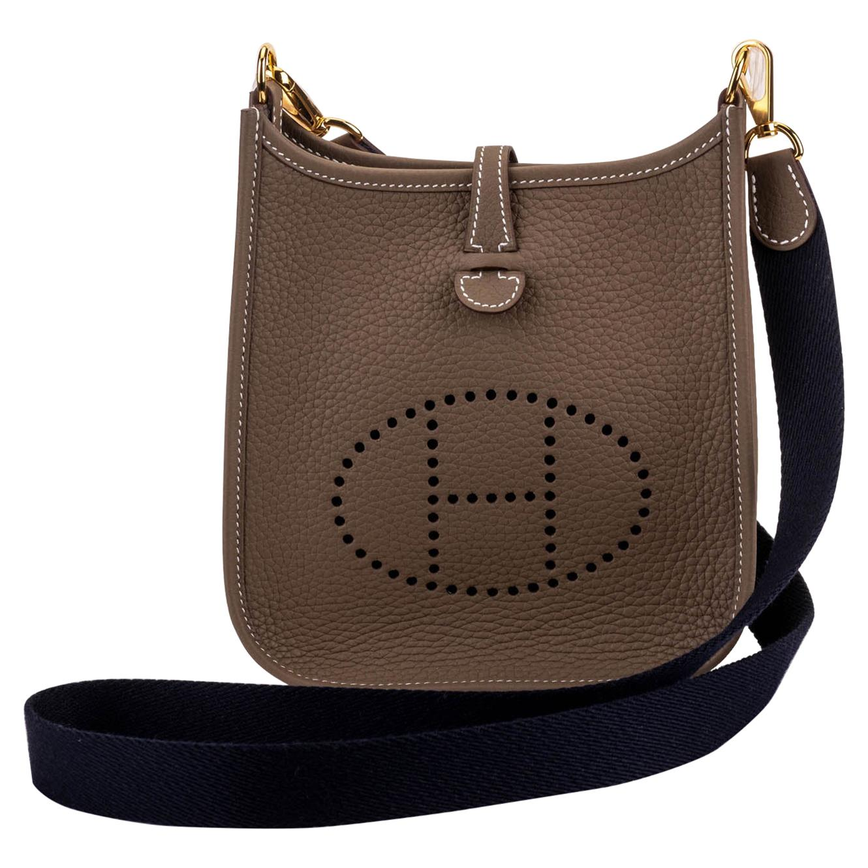 Hermes Mini Evelyne Etoupe Crosbody Blue Gold Bag