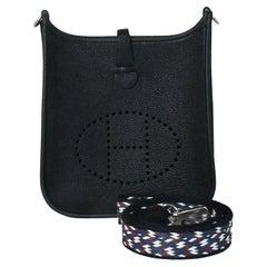 Hermes Mini Evelyne Palladium Hardware Black (Special Strap)