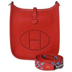 Hermes Mini Evelyne Palladium Hardware Rouge Coeur (Special Strap)