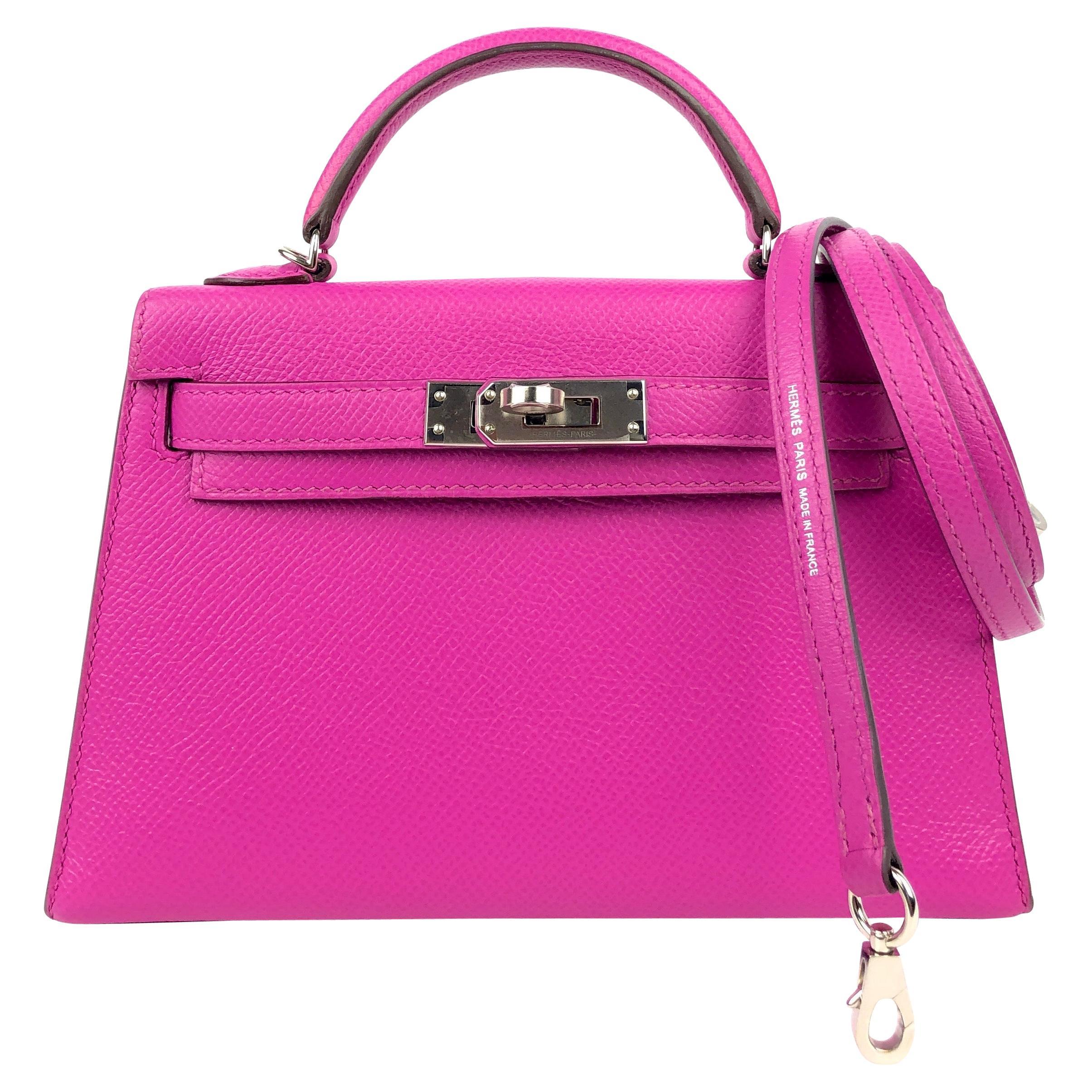 Hermes Mini Kelly 20 Magnolia Pink Purple Epsom Leather Palladium Hardware NEW
