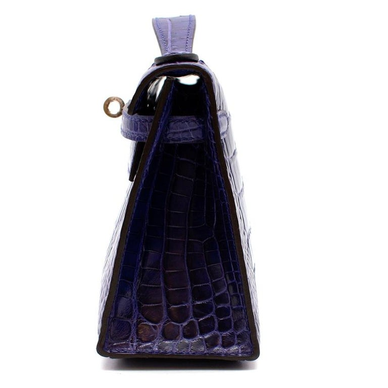 Black Hermes Mini Kelly 22 Pochette Bag in Blue Electric alligator PHW