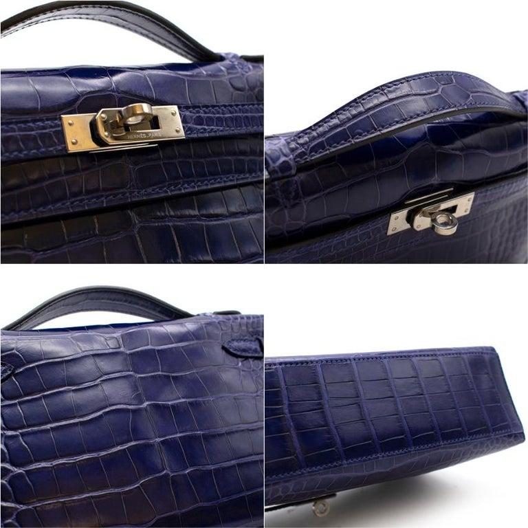Women's or Men's Hermes Mini Kelly 22 Pochette Bag in Blue Electric alligator PHW