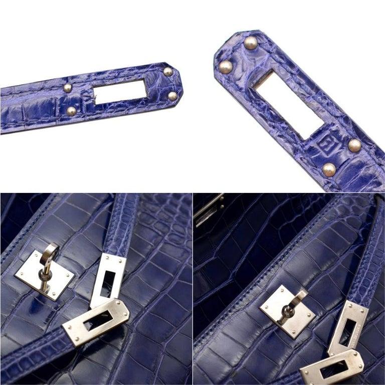Hermes Mini Kelly 22 Pochette Bag in Blue Electric alligator PHW  1