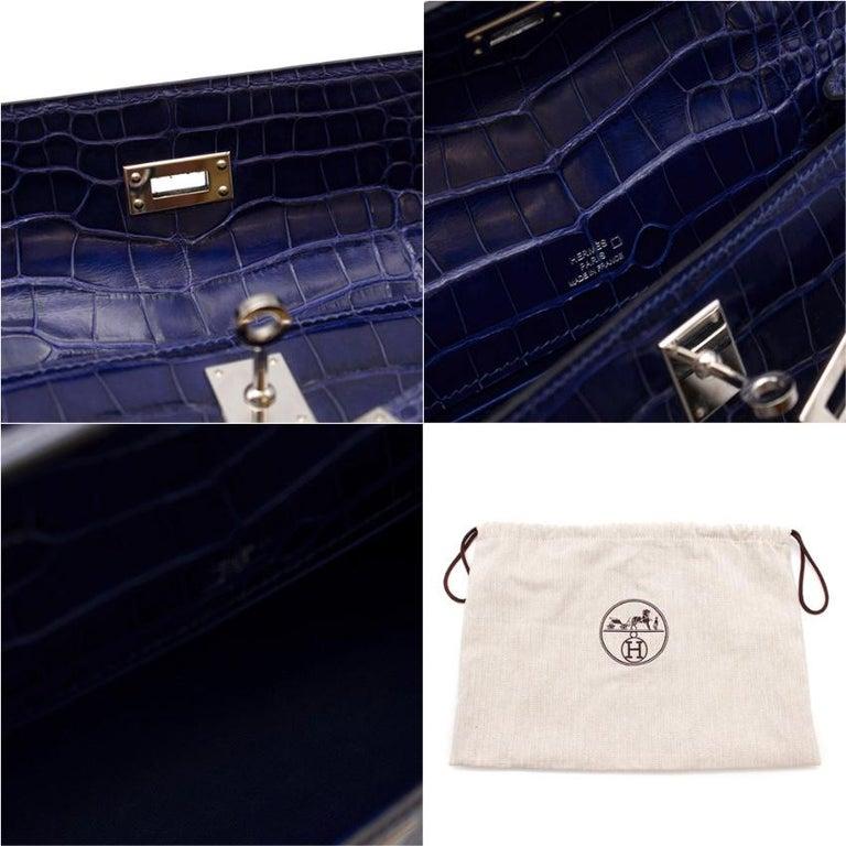 Hermes Mini Kelly 22 Pochette Bag in Blue Electric alligator PHW  2