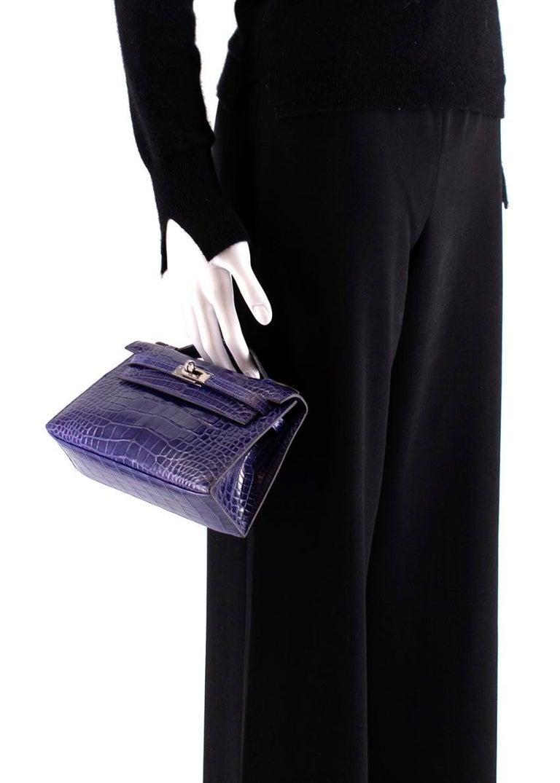 Hermes Mini Kelly 22 Pochette Bag in Blue Electric alligator PHW  3