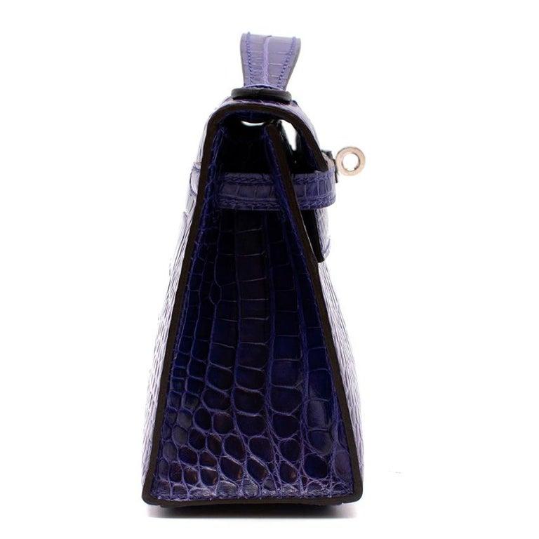 Hermes Mini Kelly 22 Pochette Bag in Blue Electric alligator PHW  4