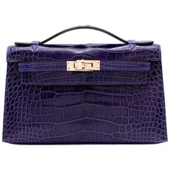 Hermes Mini Kelly 22 Pochette Bag in Blue Electric alligator PHW