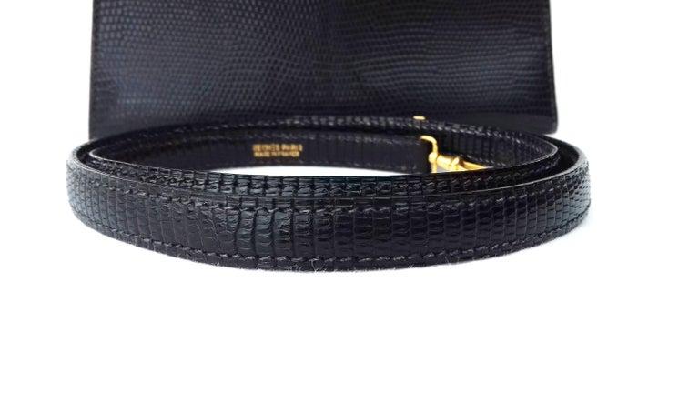 Hermès Mini Kelly Bag Vintage Black Lizard Gold Hdw 20 cm  7
