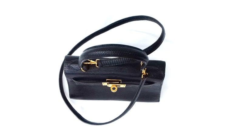 Hermès Mini Kelly Bag Vintage Black Lizard Gold Hdw 20 cm  8
