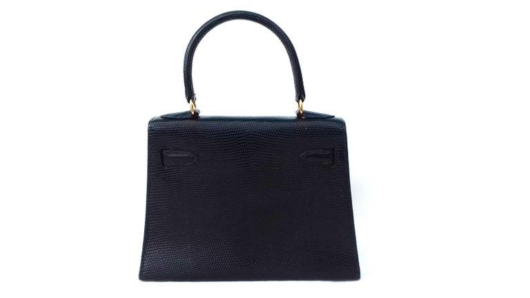 Women's Hermès Mini Kelly Bag Vintage Black Lizard Gold Hdw 20 cm