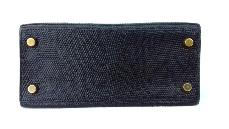 Hermès Mini Kelly Bag Vintage Black Lizard Gold Hdw 20 cm  2