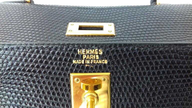 Hermès Mini Kelly Bag Vintage Black Lizard Gold Hdw 20 cm  4