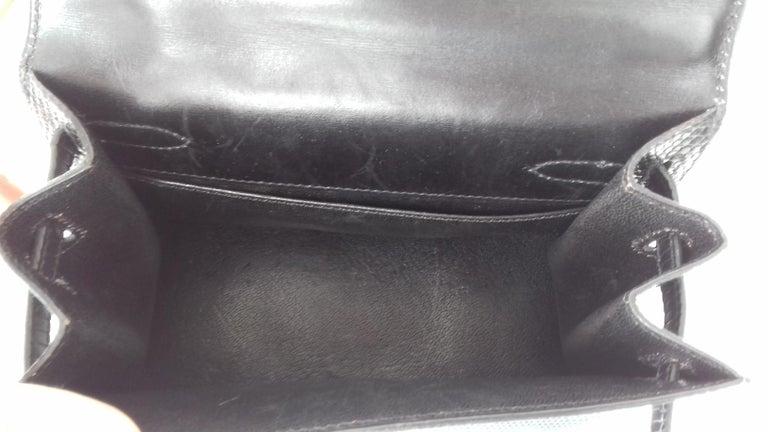 Hermès Mini Kelly Bag Vintage Black Lizard Gold Hdw 20 cm  5